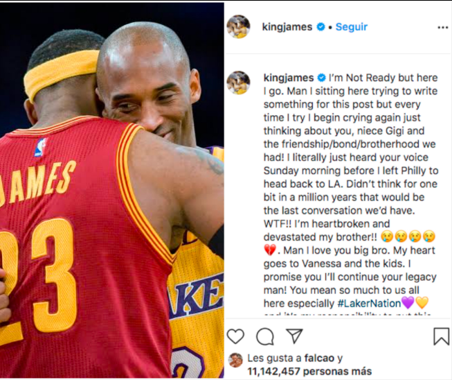 LeBron escribió conmovedor mensaje a Kobe Bryan