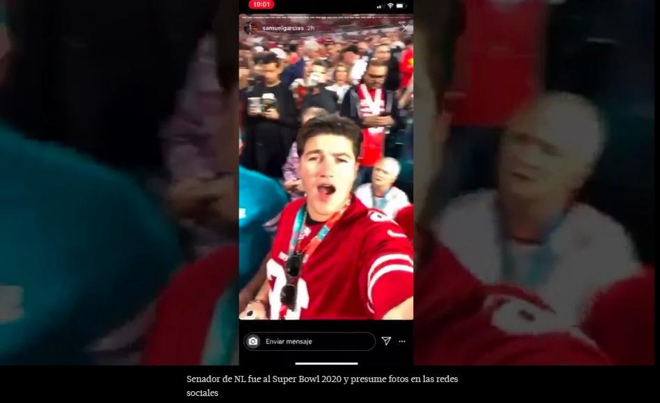 Senador de NL fue al Super Bowl 2020 y presume fotos en las redes sociales