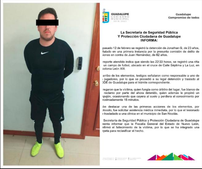 Detienen a futbolista asesino en Monterrey (FOTO)