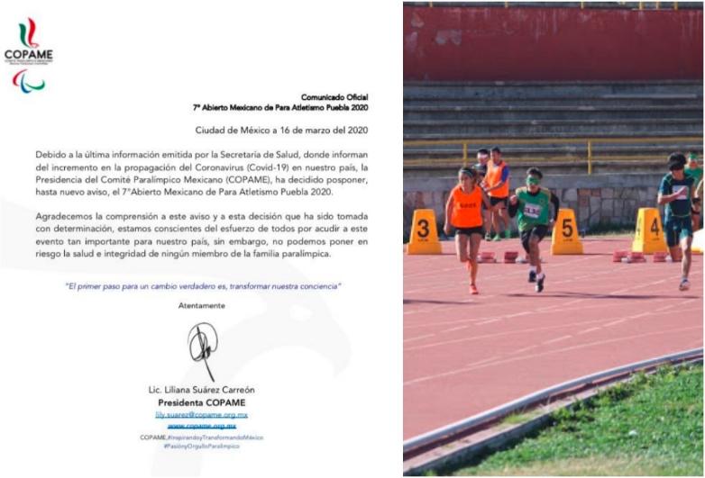 Coronavirus: Suspendido el abierto mexicano de para atletismo en Puebla