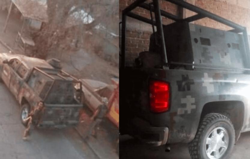 Sicarios del CJNG patrullan con camión Monstruo por las calles de Michoacán