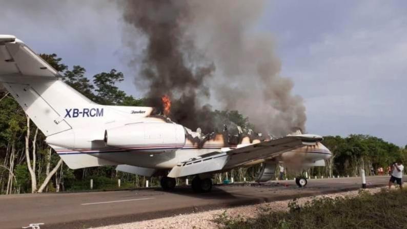 Fotos: Así quedó el narco jet de súper lujo que aterrizó en Quintana Roo