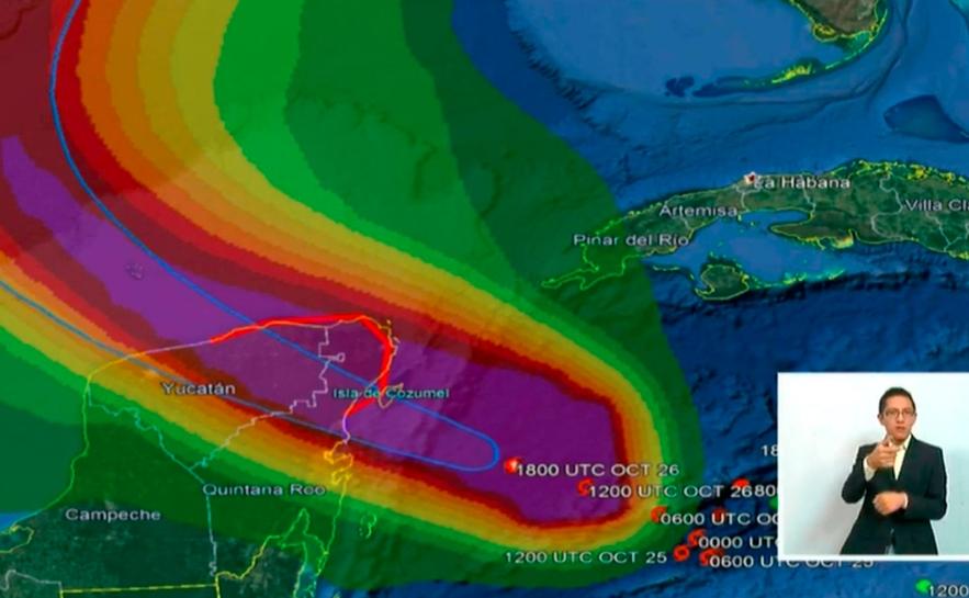 Huracán Zeta atravesará Quintana Roo esta noche y durante la madrugada
