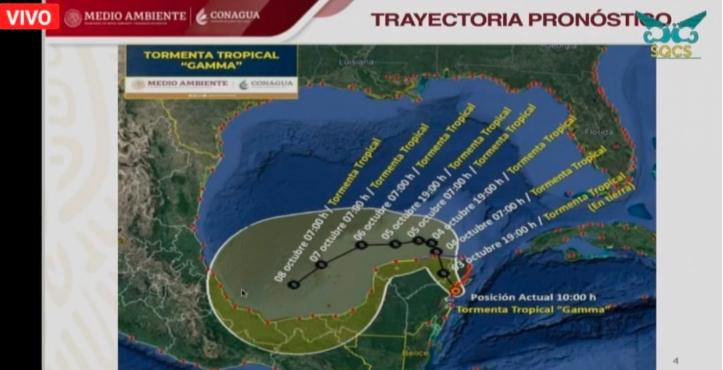 """Toca tierra Tormenta Tropical """"Gamma"""" al medio día en Tulum"""
