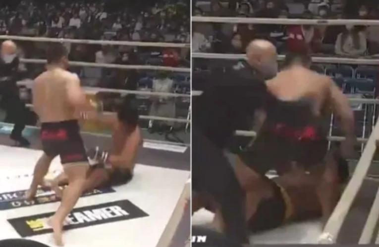VIDEO: Luchador sigue golpeando a su oponente tras ganar por nocaut y desata riña colectiva