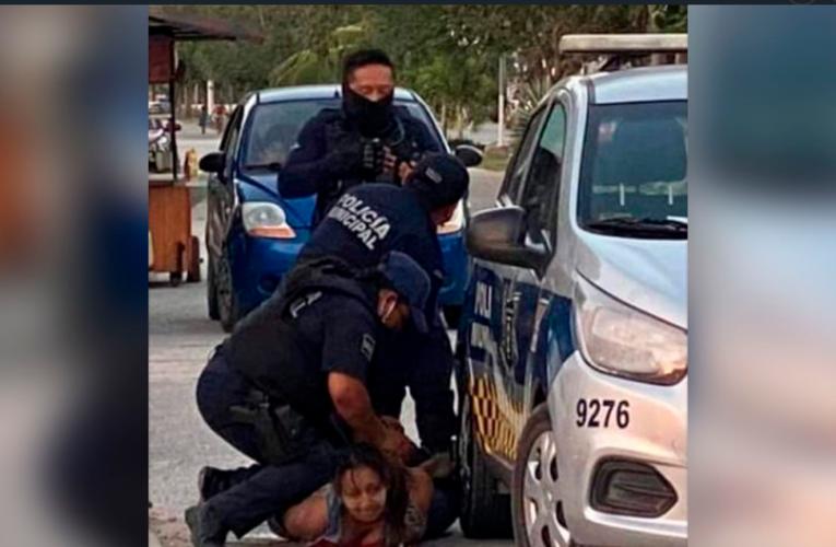 Mujer pierde la vida en Tulum al ser sometida por elementos policiales