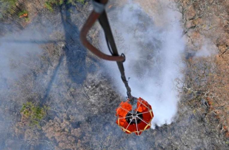Con descargas de agua desde helicópteros combaten incendio en El Tepozteco