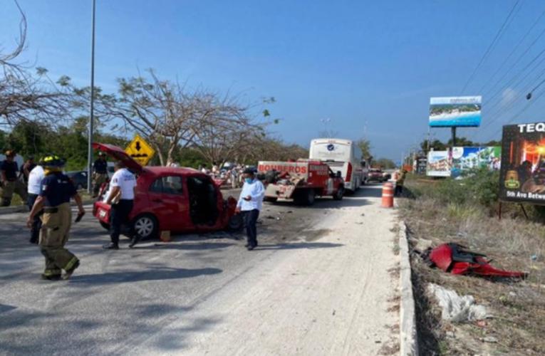 Choque en Playa del Carmen deja a tres heridos